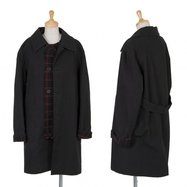 ワイズY's チェックライナーデザインコットンウールコート 黒3