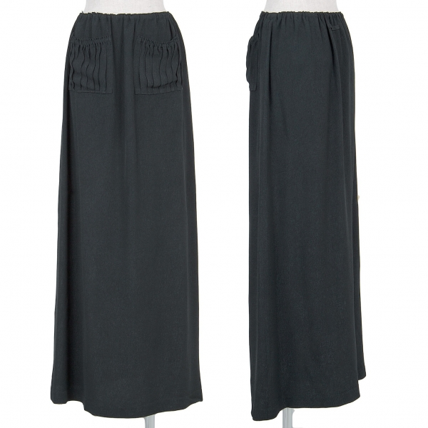 ジャンポールゴルチエ ファムJean Paul GAULTIER FEMME アセテートレーヨン柄織りスカート 黒濃緑40