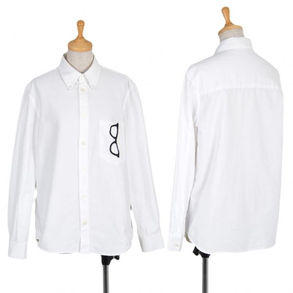 ネネットNe-net メガネ騙し絵刺繍ボタンダウンシャツ 白2