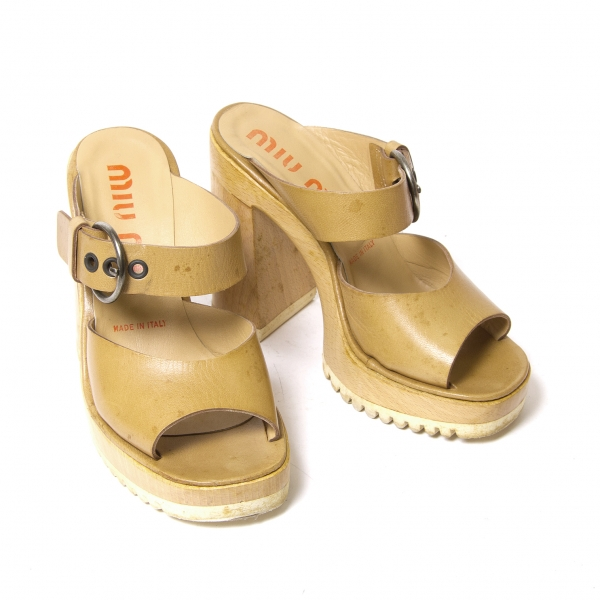 Miumiu Wood Wood Wood sole sandals Dimensione About US6(K-49381) d85a08