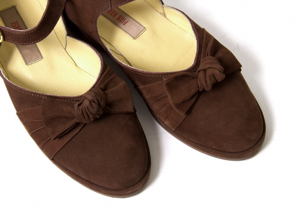 PINK HOUSE Suede Ribbon Design Flat Shoes Size US 6.5(K-49386)