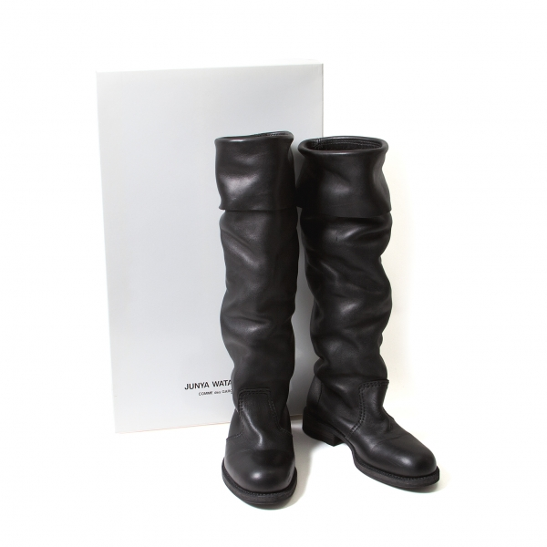 JUNYA WATANABE Draped leather long boots Size US5.5�P6(K-49543)