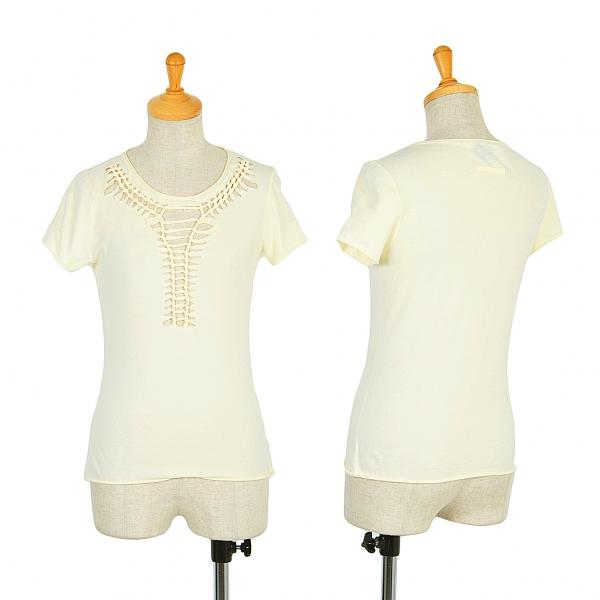 Jean-Paul GAULTIER FEMME Cut off woven T Shirt Größe 40(K-49722)