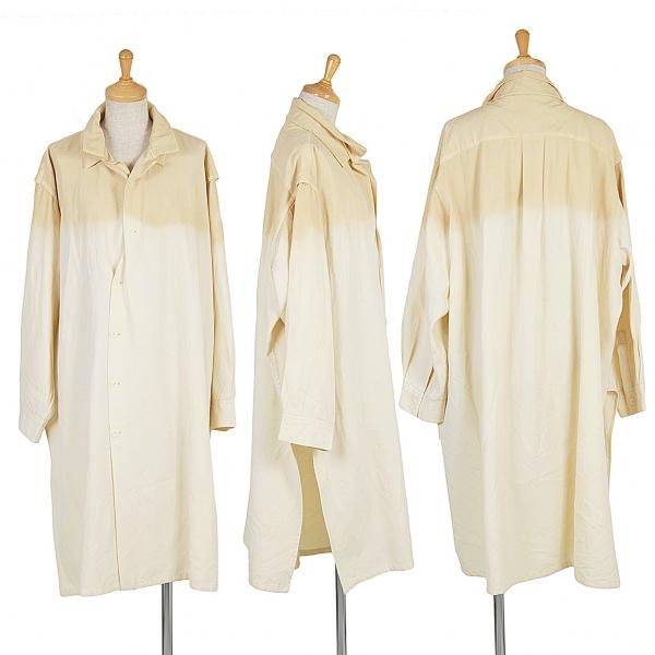 【SALE】ヨウジヤマモトファムYohji Yamamoto FEMME ウールギャバグラデーション染めシャツコート クリーム濃淡S