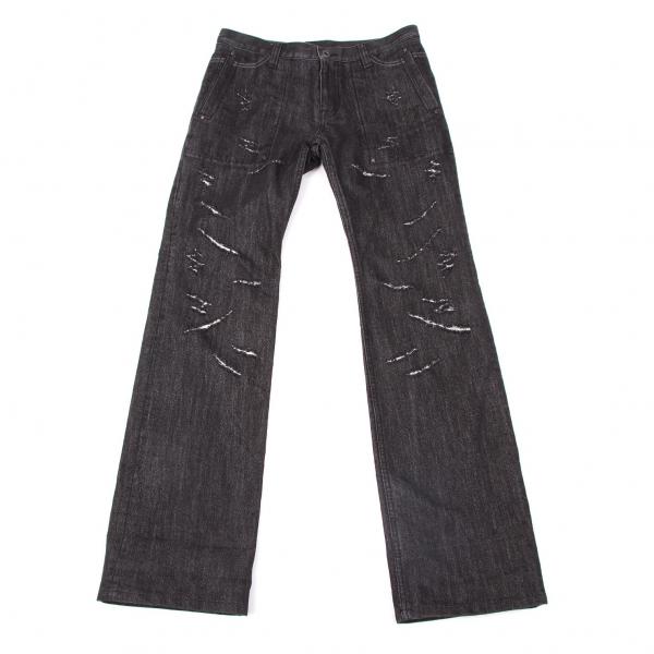 ISSEY MIYAKE HaaT Damage Glitter Denim Pants Size 2(K-50474)