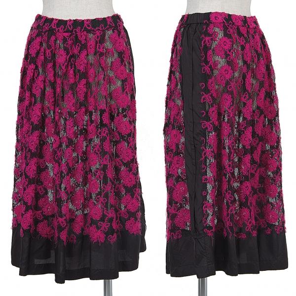 コムデギャルソンCOMME des GARCONS 製品染め刺繍レーススカート 黒ピンクM位