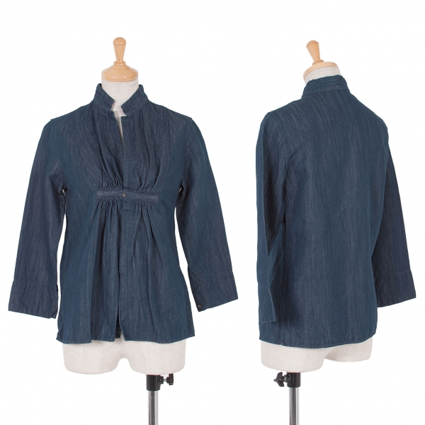 45rpm コットンリネンデニムギャザーシャツ インディゴ1