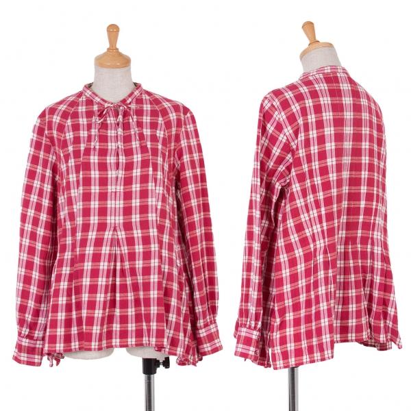 45rpm& Aラインプルオーバーチェックシャツ 赤白1