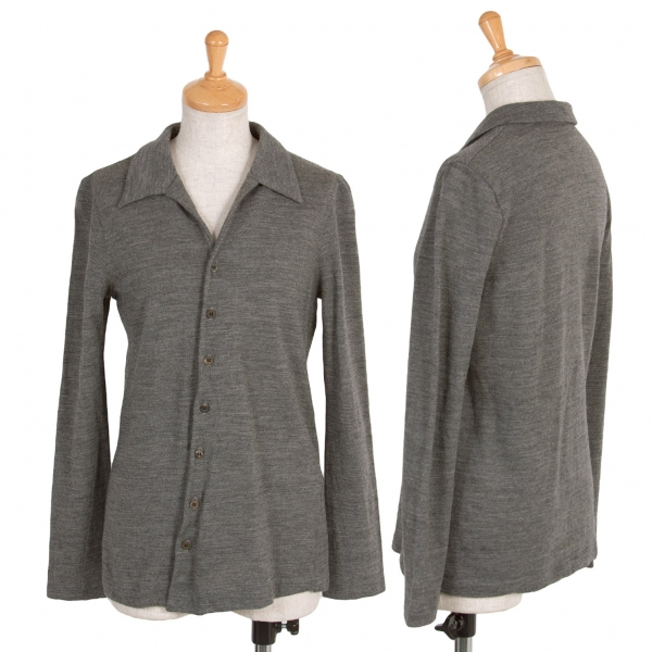 トリコ コムデギャルソンtricot COMME des GARCONS ウールニットシャツ 杢グレーM位