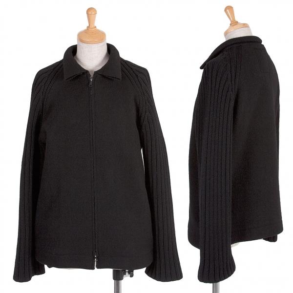 ワイズY's 袖ニット切替ウールジップブルゾン 黒3