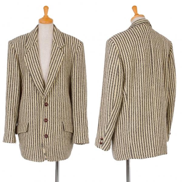 イッセイミヤケISSEY MIYAKE I.S. ストライプ織りジャケット ベージュ黒9