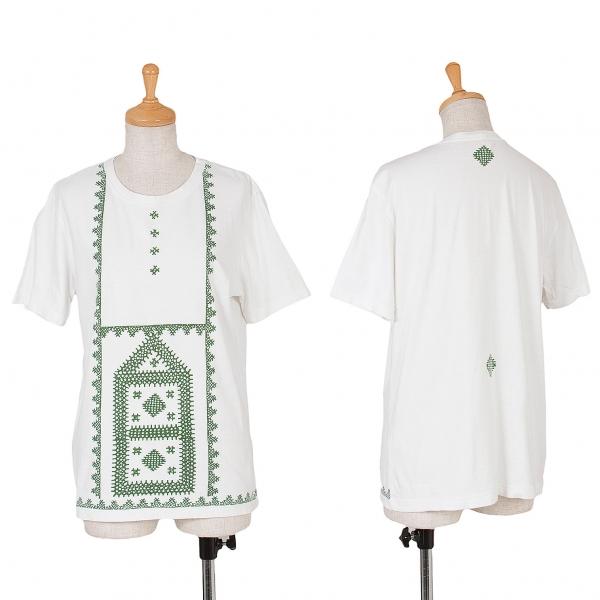 イッセイミヤケ ハートISSEY MIYAKE HaaT レースプリントTシャツ 白緑2
