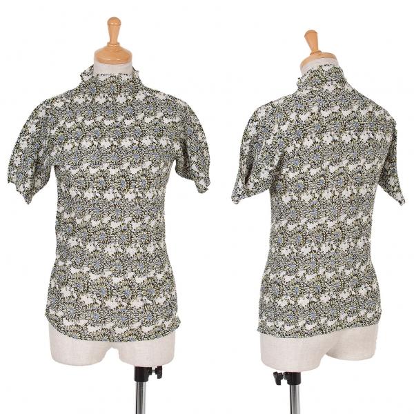 イッセイミヤケISSEY MIYAKE フラワープリントボックスプリーツTシャツ 白黒青黄2
