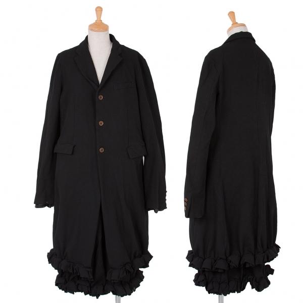 コムコム コムデギャルソンCOMME des GARCONS 製品染めポリ裾フリルロングジャケットセットアップスーツ 黒L/S