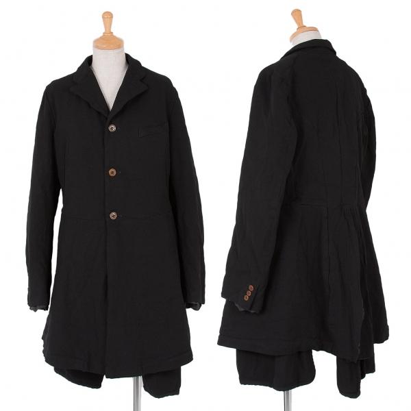 コムコム コムデギャルソンCOMME des GARCONS 製品染めポリベストレイヤーロングジャケット 黒L