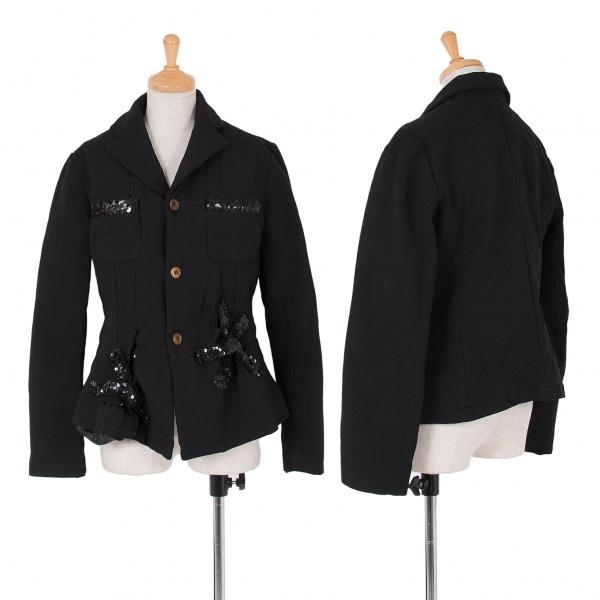 コムコム コムデギャルソンCOMME des GARCONS 製品染めスパンコール装飾ジャケット 黒L