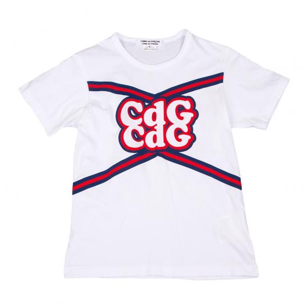 コムコム コムデギャルソンCOMME des GARCONS ポップロゴプリントTシャツ 白赤紺S