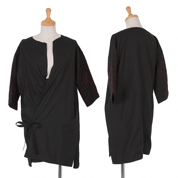 ヨウジヤマモトファムYohji Yamamoto FEMME ステッチスリーブ羽織シャツ 黒赤3