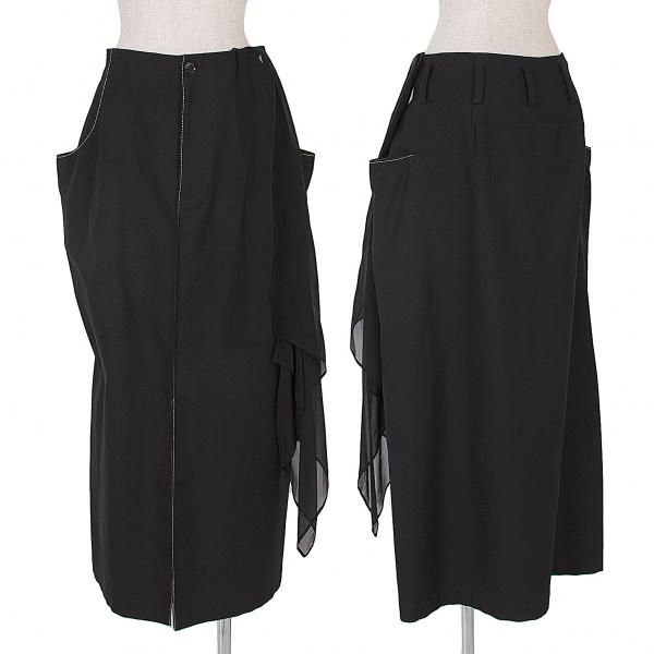 ヨウジヤマモトファムYohji Yamamoto FEMME オールドギャバステッチデザインスカート 黒2