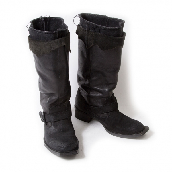 LIMI feu Layered leather engineer boots Size Around US 7.5)(K-52105)