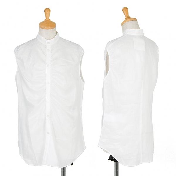 新品!ワイズY's ラミーバンドカラーノースリーブシャツ 白2