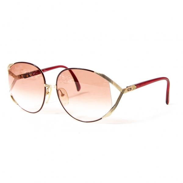 クリスチャンディオールChristian Dior サングラス 薄赤 フレームゴールド 63□17