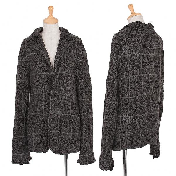 (SALE) Y's Plaid Knit Jacket Grey,Black 3