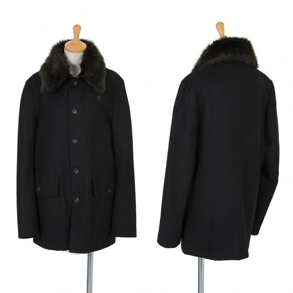 (SALE) Y's Removable faux fur wool coat Black 2