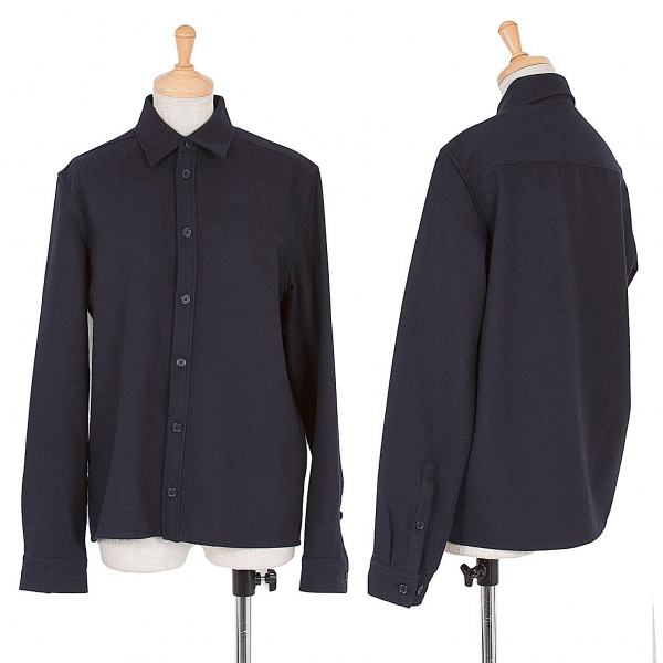 (SALE) Y's bis LIMI Angola blended wool nylon shirt Navy S