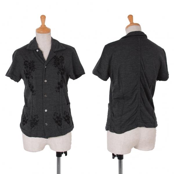 トリコ コムデギャルソンtricot COMME des GARCONS ウール刺繍半袖シャツ 杢グレー黒M位