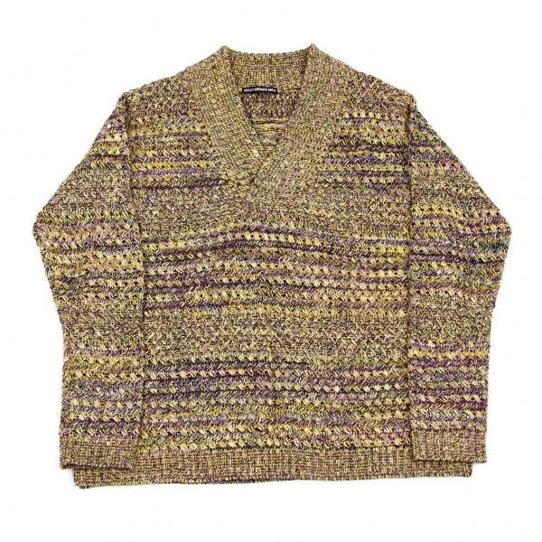 イッセイミヤケメンISSEY MIYAKE MEN 多色糸ショールカラーニットセーター 黄紫緑他3