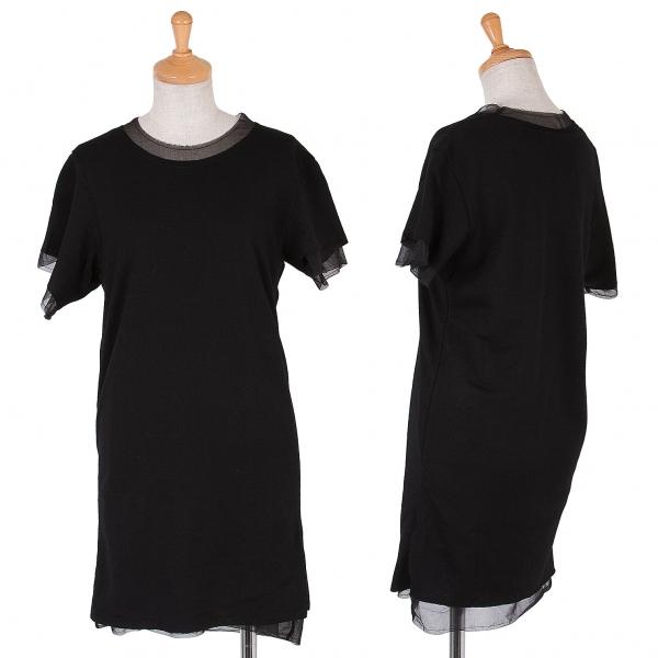 ローブドシャンブル コムデギャルソン シフォンレイヤードロングTシャツ 黒M位
