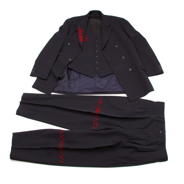 ワイズフォーメンY's for men ウールギャバキズステッチスリーピースセットアップスーツ 紺赤M/M