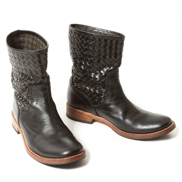 Y's Intrecciato Leather boots Size About US7(K-55035)