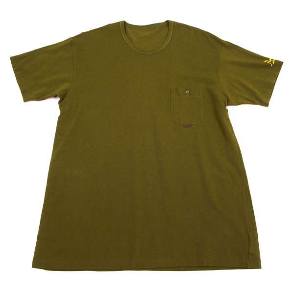 【SALE】パパスPapas 胸ポケット鹿の子Tシャツ カーキM