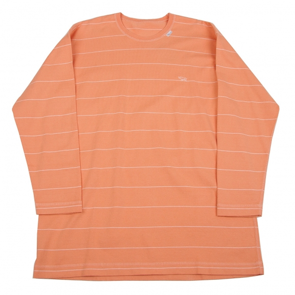 パパスPapas ワンポイント刺繍ボーダー長袖カットソー 淡オレンジ白S