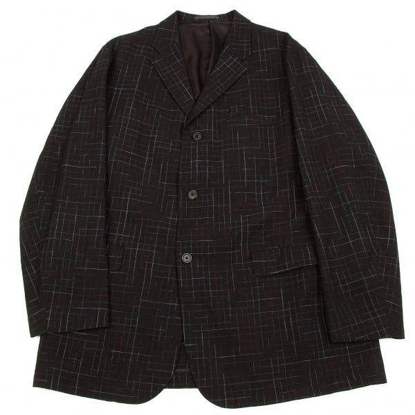 ワイズフォーメンY's for men かすれチェックウールジャケット 黒緑赤M
