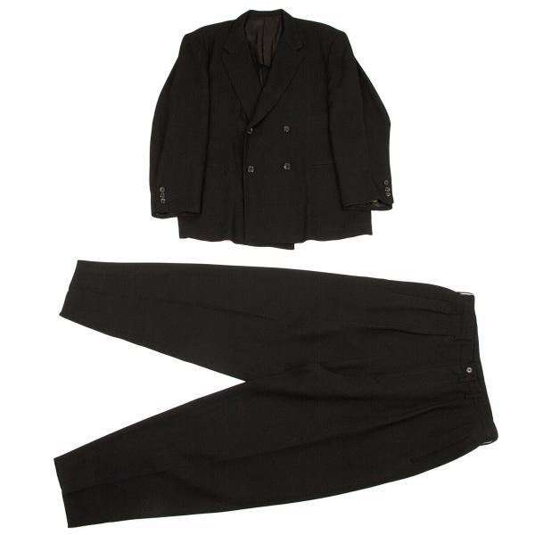 ワイズフォーメンY's for men ウールポリ格子織りダブルセットアップスーツ 黒M/M位