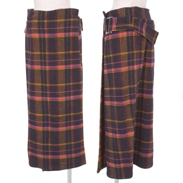 ワイズY's アクリルウールチェック巻きスカート 黒黄他3