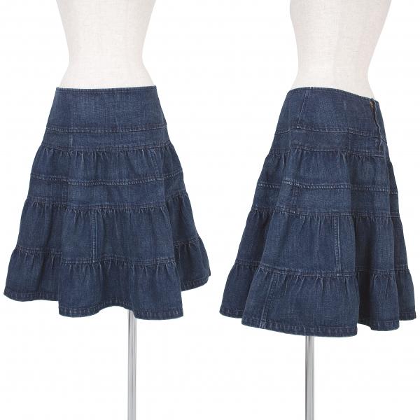 トリココムデギャルソンtricot COMME des GARCONS デニム切替デザインスカート インディゴブルーS