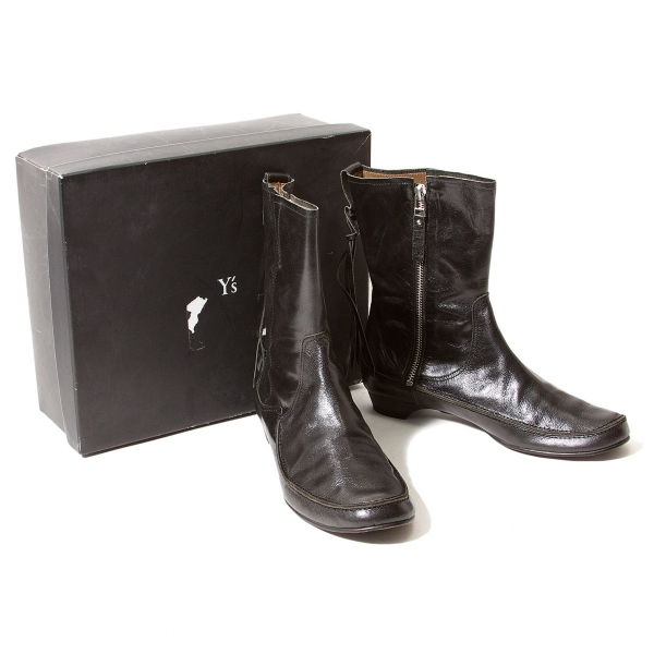 Y's Crack 7.5)(K-56504) Leather Boots Size 6(US 7.5)(K-56504) Crack 195f0d