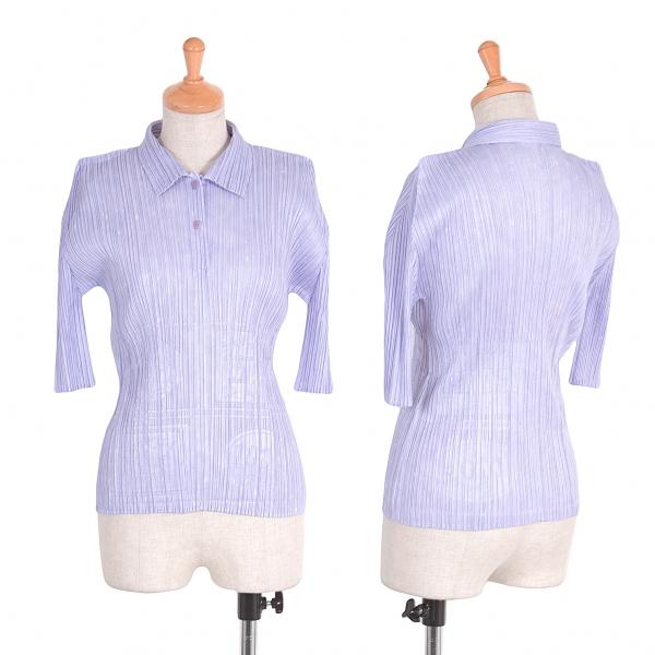 プリーツプリーズPLEATS PLEASE エンボスデザイン半袖シャツ パープル3