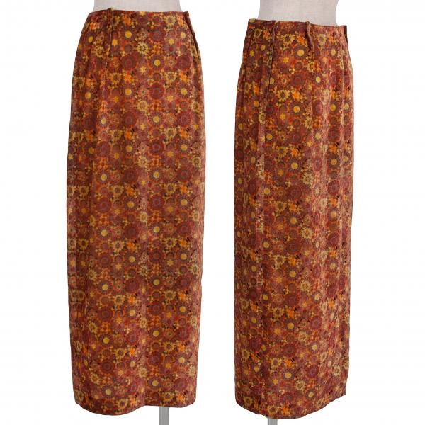 Yohji Yamamoto black Velor Geometric pattern Skirt Size 2(K-56777)