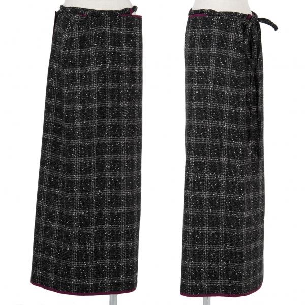 Y's Check Tweed Wrap Skirt Größe S-M(K-57173)