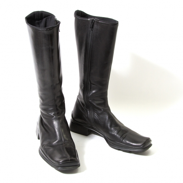PRADA Rubber Sole Leather Boots Size 36(K-57192)