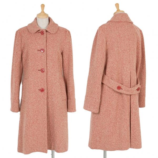 マークジェイコブスMARC JACOBS ベルト付ウールチェック丸襟コート 赤オフ6