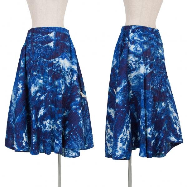 プリーツプリーズPLEATS PLEASE 地球プリントプリーツスカート 濃淡青白5