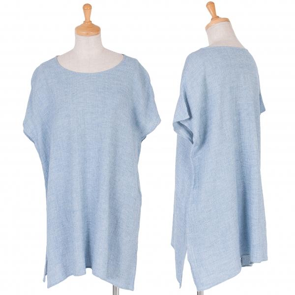 JURGEN LEHL Linen Side Slit T Shirt Größe M(K-57858)