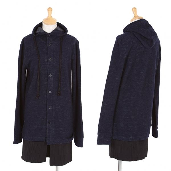 【SALE】新品!ワイズY's ウールコットンフード付ロングカーディガン 紺2