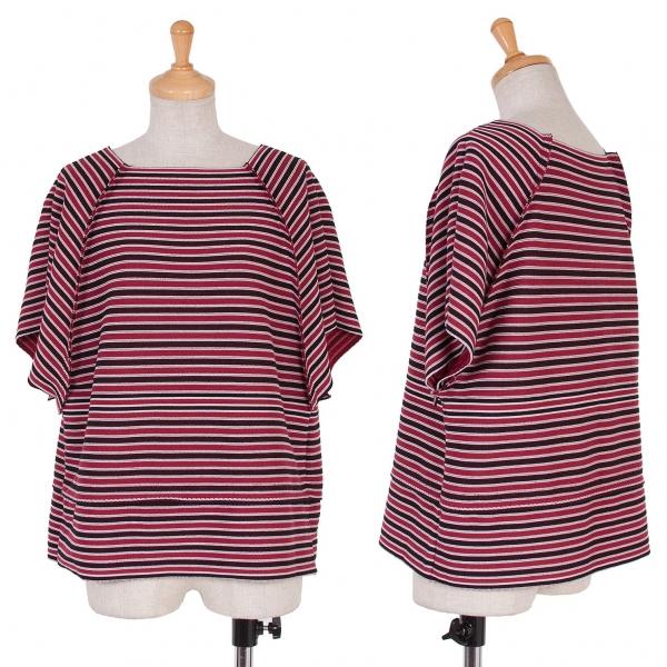 イッセイミヤケISSEY MIYAKE A.POC INSIDE ボーダーラグラン切替Tシャツ 赤黒白2